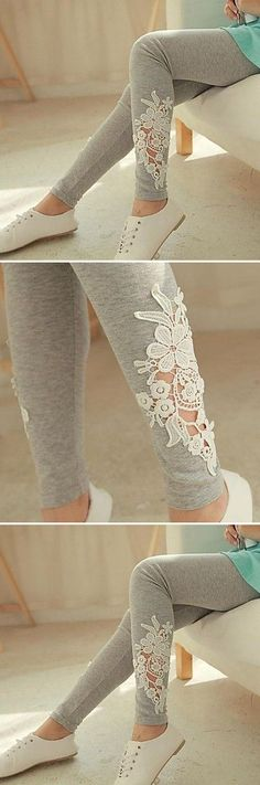 Grey Embellished Leggings