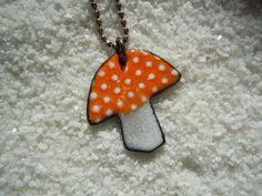 Orange Mushroom Necklace by SevenCenterStudios on Etsy