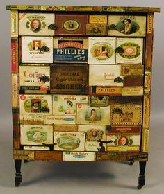 Dresser made from wooden cigar boxes.