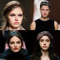 Trendy hairstyle for FW 2015: Headband. Retro vintage headband. Fendi, Hermès, Dolce and Gabbana, and GucciFall Winter 2015.