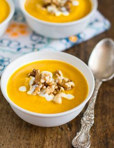 This simple and creamy squash soup has just 6 ingredients including squash, onion, olive oil, milk, and toasted walnuts. It's my go-to soup recipe!