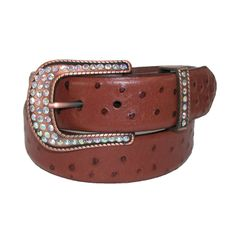 Womens Ostrich Print Leather Belt with Rhinestone Buckle by Roper. Removable Buckle. Antiqued bronze buckle and keeper with rhinestones $21.95