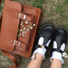 T-bar shoes and white ankle socks with brown satchel Sock Shoes, Cute Shoes, Me Too Shoes, Dr. Martens, Looks Style, My Style, Ac New Leaf, Art Hoe Aesthetic, Look At My
