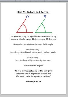For introducing/consolidating math theories (this one for trig ratios) - RISPS (Rich Starting Points) www.risps.co.uk