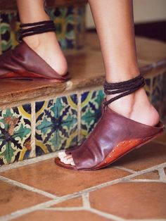 Free People Cherry Valley Sandals // Brown slip on sandals with ankle ties
