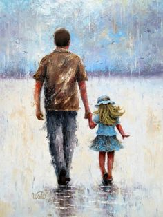 Father And Girl, Father Daughter Photos, Dad Daughter, Cartoon Girl Images, Guache, Watercolor Art, Photo Art, Art Drawings, Dads