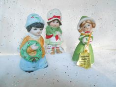 Two Christmas Bell Figurines and one Christmas potpourri holder / Christmas Decorations / Ceramic Figurine Bells Sale $2.50 EACH Ends Dec.8th