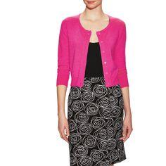 Oscar de la Renta Women's Cashmere Crop Boyfriend Cardigan - Pink -... (8,090 MXN) ❤ liked on Polyvore featuring tops, cardigans, pink, pink top, button front cardigan, 3/4 sleeve cardigan, j.crew cardigan and cropped cashmere cardigan