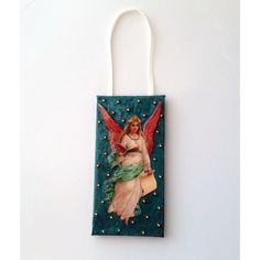 Victorian Angel Ornament, Handmade Christmas Gift, Holiday Angel Tree... ($30) ❤ liked on Polyvore featuring home, home decor, holiday decorations, teal home decor, victorian ornaments, teal home accessories and victorian home decor