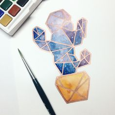 Its a galaxy, geometric cactus! Materials used: Salura Koi watercolor Sakura Pen touch copper Uniball Signo white . Cactus Drawing, Cactus Art, Uniball Pen, Sakura Pens, Galaxy Painting, Geometric Art, Cute Drawings, Art Sketches, Watercolor Paintings