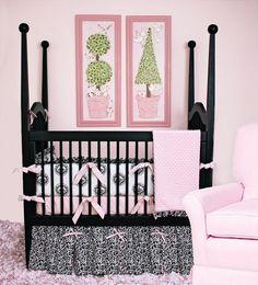 Design your nursery around this AMAZING black, white & pink crib bedding set....trendy & chic!!