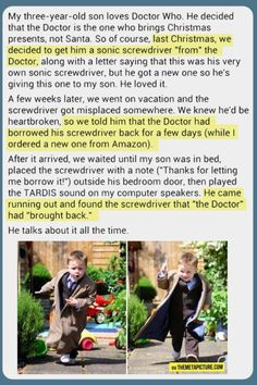 I've pinned this before but it's better with the pictures...it's also probably going to be my daughter ;) Doctor who parenting done right!!!! I love this so much!!