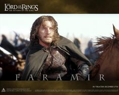 Faramir, the last of the Ruling Stewards. Younger son of Steward Denethor II of Gondor, and brother to Boromir of the Company of the Ring. He fought among the Rangers of Ithilien, and was wounded in the last retreat from Osgiliath before the overwhelming forces of Sauron. After the installation of Aragorn II Elessar as King, Faramir was given the princedom of Ithilien.