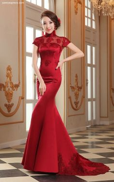 Chinese Wedding Gown Mermaid Crimson Evening Bridal Reception Qipao