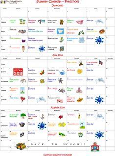 Summer Camp Preschool Calendar NOW Available