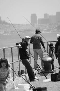 Some guys trying their luck off the pier in Sausalito