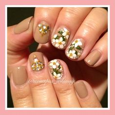 "White floral on nude mani (OPI ""Samoan Sand""). Hand painted blossoms, with nail gems / jewels. See this Instagram photo by @sweetpea_whimsy"