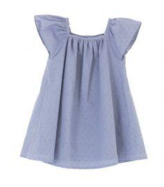 25'20€ Vestido niña manga volante plumeti azul
