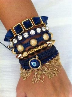 Beautiful, rich, gold and navy jewelry.