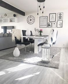 Likes, 20 Comments - First Apartment, Grey Chair, Style At Home, Building A House, Living Room Decor, Sweet Home, House Styles, Dining Rooms, Kitchen