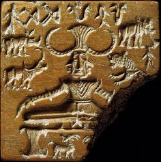 Shiva_Pashupati seal a famous terracotta seal excavated from the Mohenjo Daro Mound of the Dead in the Indus Valley dated approx 2000 BC depicts a horned yogi figure in lotus position w erect phallus a symbol of way hev