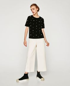 Image 1 of FAUX PEARL STUDDED TOP from Zara