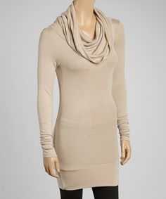 Take a look at this Powder Long-Sleeve Cowl Neck Tunic by A La Tzarina on #zulily today!