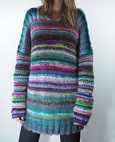Dayana Knits: Scraptastic using hundreds of pieces of leftover yarn! – Knitting patterns, knitting designs, knitting for beginners. Knitting Designs, Knitting Projects, Poncho, Knitting For Beginners, Knitting Yarn, Crochet Clothes, Knitwear, Knitting Patterns, Knit Crochet