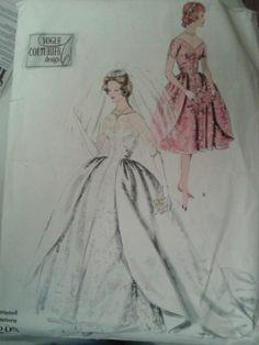 Vintage 1960 Vogue Couturier Bridal Gown Bridesmaid's Dress Pattern 208
