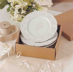 What a great personalized wedding gift idea! These monogram dessert plates from Mud Pie come pre-boxed and are the perfect newlywed gift or bridal shower gift.