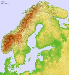 Detailed Terrain Map of Scandinavia, Finland and the Baltic States Atmospheric Circulation, Castle Layout, Physical Geography, Fantasy Map, Earth From Space, Historical Maps, Norway, Europe, History