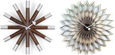 Irvin Harper's Wheel Clock (1961) and Sun Flower Clock (1958)