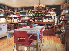 On Bradstreet Farm - kitchen, farmhouse kitchen, open shelves, old farmhouse, maximalist