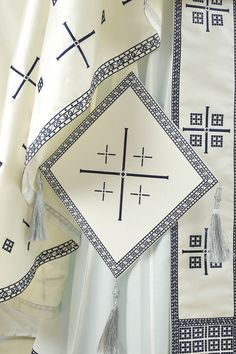 The treasury of this mediaeval monastery in the Serbian province of Kosovo and Metohija contains a unique pair of liturgical cuffs which serve as the inspiration for this set of vestments. DECHANI is available in navy blue, white and purple acetate. Early Christian, Gold Embroidery, Priest, Lyon, Purple, Navy Blue, Ready To Wear, Serbian, Cuffs