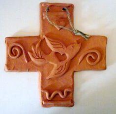 Terra Cotta Cross with Bird