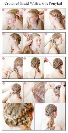 Crowned Braid With a Side Ponytail - Gorgeous, would be great for dance recital, but I don't know as my hair is long enough to have the ponytail look good.