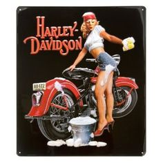 Harley-Davidson® Babe Washing Bike Tin Sign