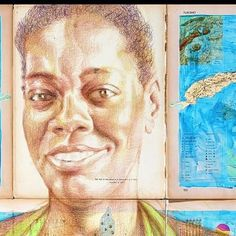 """Detail my new piece from Cuba """"She's Unstoppable"""" a portrait of Isabel the director of a community arts center in Habana whom I met in May. #beautifulwomen #beautifulwoman #blackhistory #strongwomen #strongwoman #cubanculture #cubanart #cuban #cubana #havana #habana by jmichaelwalker1"""