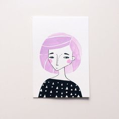 Original Illustration A6 Lola with pastel lilac hair by andsmile on Etsy, £10.00 Ink and watercolour drawing