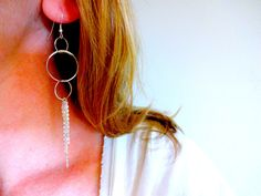 Handmade Mixed Metal 925 Sterling Silver Fringe Three Circle Dangle Drop Chandelier Earrings; Modern Delicate Statement Silver Earrings by KalosandCo on Etsy https://www.etsy.com/listing/175899162/handmade-mixed-metal-925-sterling-silver
