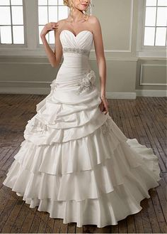 STUNNING TAFFETA SATIN SWEETHEART TIERED SKIRT WEDDING DRESS LACE BRIDESMAID PARTY COCKTAIL EVENING GOWN IVORY WHITE