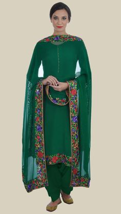 Emerald Green Parsi Gara Hand Embroidered Pure Crepe Suit