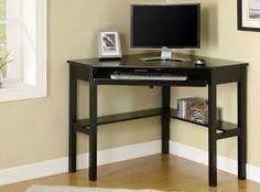 Image result Black Desk, Black Corner Computer Desk, Small Corner Desk, Wood Corner Desk, Corner Writing Desk, Computer Desks For Home, Corner Office, Home Desk, Home Office Desks