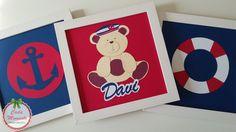 Trio de quadros Tema Urso Marinheiro www.facebook.com/cadamomentopersonalizados