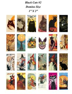 Vintage Black Cats Digital Collage Sheet Domino Size by MelancholyMind, on Etsy $2.99