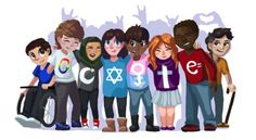This picture have been illustrated by a 7 year old girl named Sarah Harrison from Connecticut. This is Sarah's entry for the US . Google Doodles, Doodle 4 Google, Google Doodle Contest, Doodle For Google Winners, Google Student, Google Homepage, Google Art, Les Religions, Equal Rights