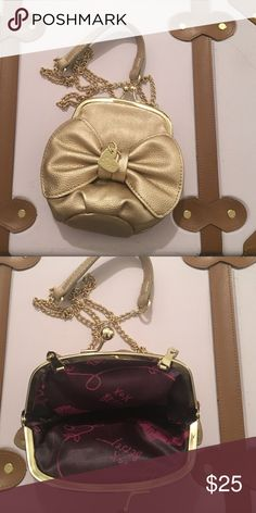 Betsy Johnson cross body. Small, gold cross body with chain strap. Betsey Johnson Bags Crossbody Bags