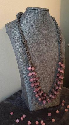 Pink beaded Crochet Necklace