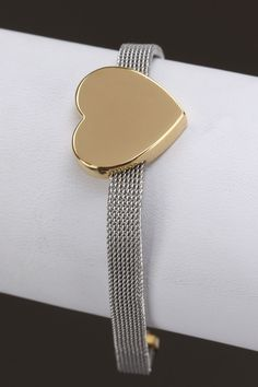 Sephora Jewelers Stainless Steel Two-Toned Heart Bracelet -$14.99
