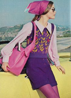 "August 'Tapestry, collector's item inspirations, vroom off in a sophisticated layering of separates with a young, alive feeling. The young woman is Susan Dey, of ""Partridge Family"" fame. Seventies Fashion, 60s And 70s Fashion, Retro Fashion, Vintage Fashion, Womens Fashion, Seventies Outfits, Purple Fashion, French Fashion, Korean Fashion"